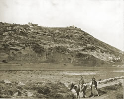 Mount Carmel circa 1890 -- the cave of Elijih is on the bottom right